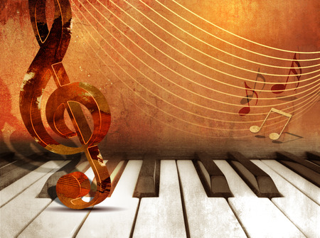 Music background with piano keys and music notes Stok Fotoğraf