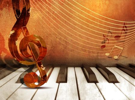 Muziek achtergrond met piano toetsen en muziek noten Stockfoto