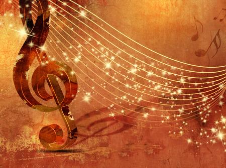 musica clasica: Fondo de la m�sica grunge con el personal musical abstracto Foto de archivo