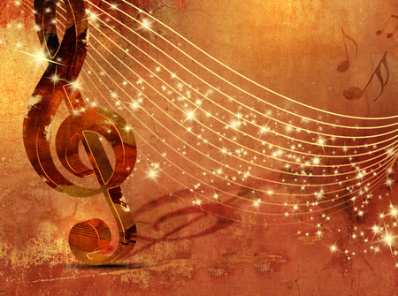 music poster: Music background grunge with abstract musical staff Stock Photo