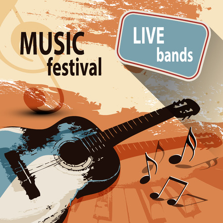 festival vector: Music festival background with retro guitar