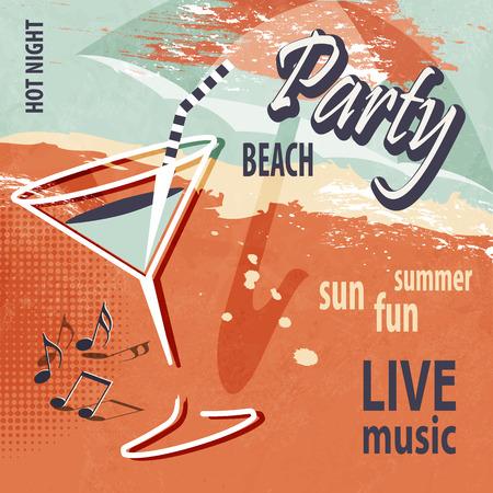 Parte poster Spiaggia di estate con cocktail in stile retrò Archivio Fotografico - 40569692