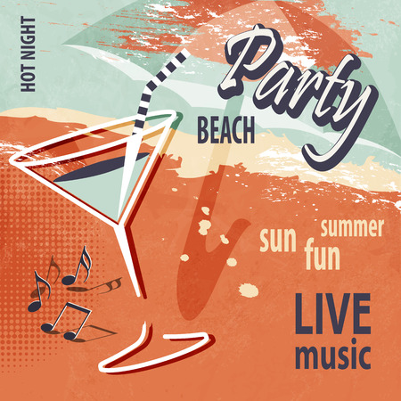 Summer beach party poster with cocktail  retro style 矢量图像