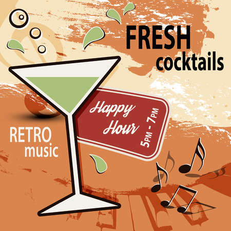happy hour: Retro cocktail bar poster ad  Happy Hour