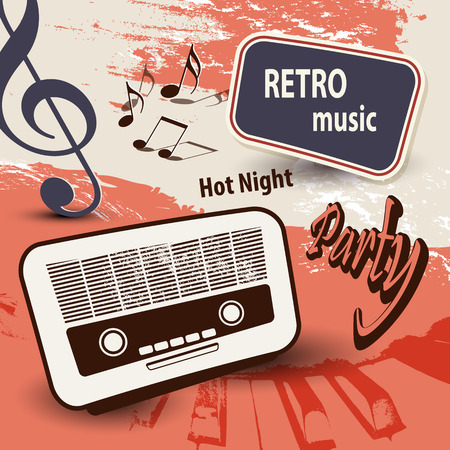 80's: Music background with old radio and notes  retro party poster