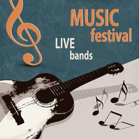guitarra: Cartel del festival de música con la guitarra retro Vectores