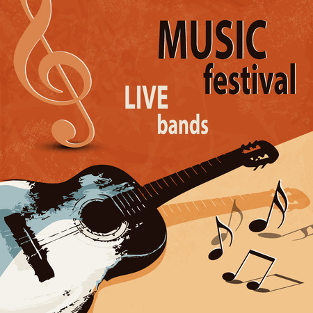 retro music: Music background with retro guitar  rock festival