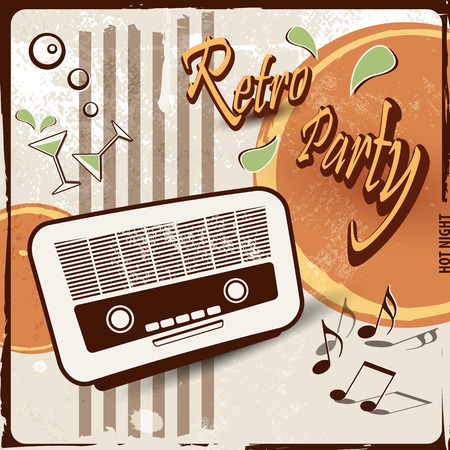 70's: Retro party background with old radio  50s 70s style