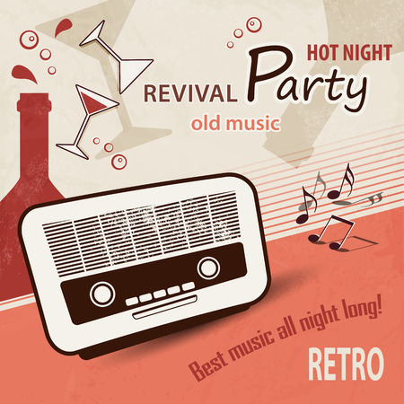 old radio: Music background  retro party poster with old radio