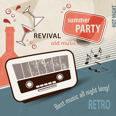 50s: 50s retro background  music poster with old radio  party invitation