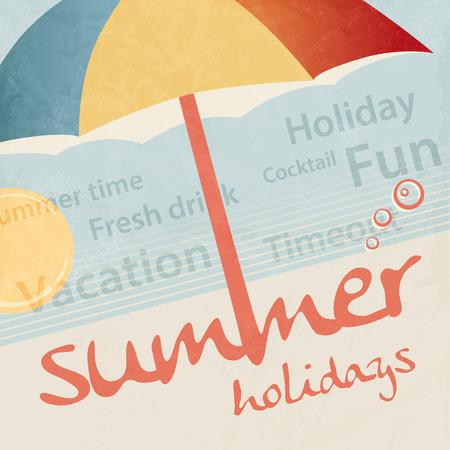 Summer holidays  tourism travel concept  retro vacation background Illustration