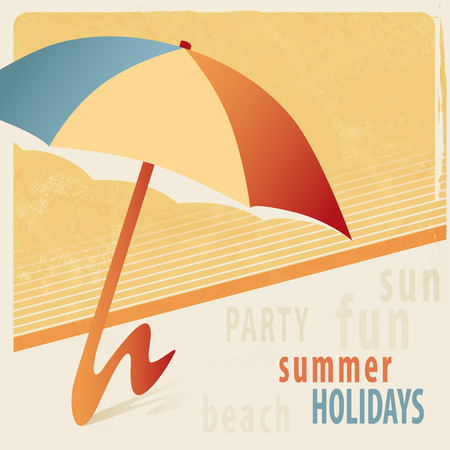 sunshade: Summer background with sunshade  retro style