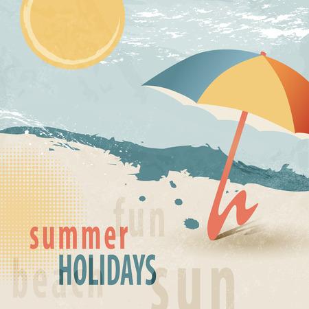 Estate sfondo vacanza al mare con ombrellone 50s stile retrò Archivio Fotografico - 40571286