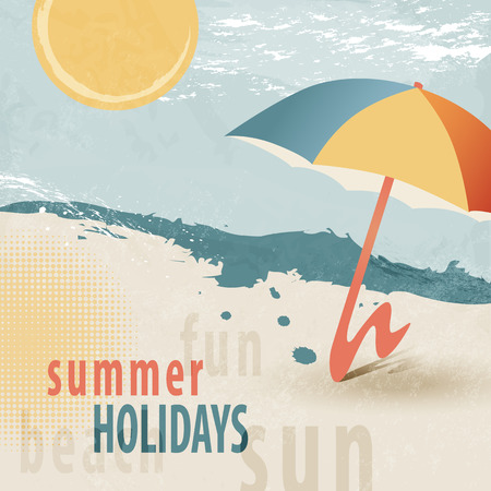summer vacation: Summer holiday background  beach with sunshade  50s retro style