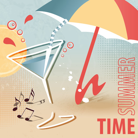 sunshade: Summer beach template with cocktail and sunshade  summertime fun  retro design Illustration