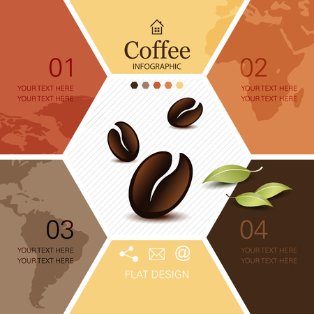 coffee beans background: Coffee infographic with soft global world map