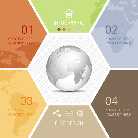 Global business infographic with globe and world map Vector