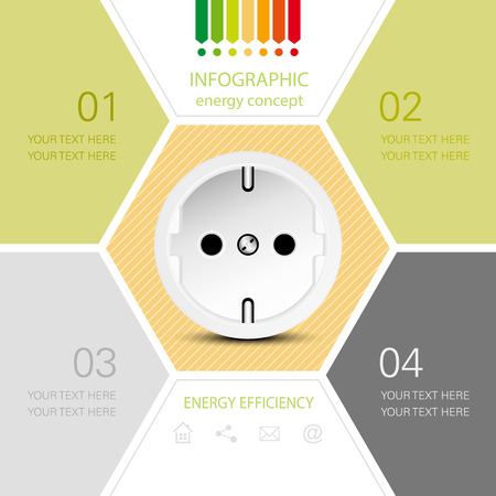 energy rating: Energy efficiency concept with power outlet  infographic with energy rating chart