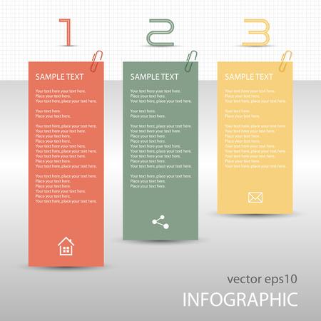 memo pad: Infographs tag labels memo notes Illustration