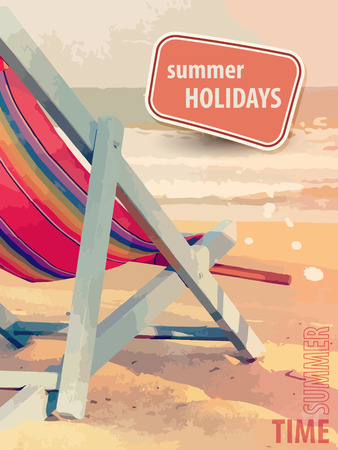 deckchair: Summer holiday poster with deckchair on the beach in retro style Illustration