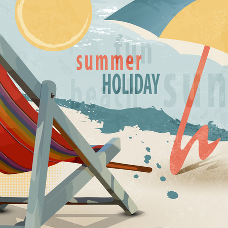 vector chair: Summer holiday beach background with deck chair and sunshade in retro style - tourism concept