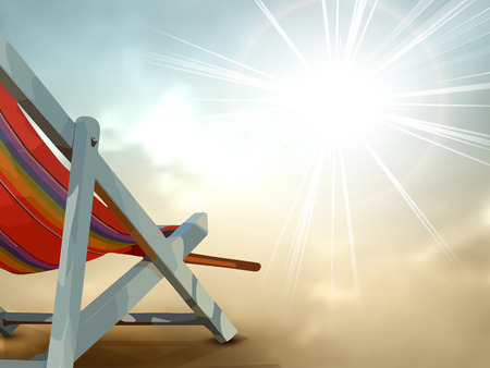 deckchair: Tourism and travel concept - summer holiday background with deck chair and sunny sky in retro style