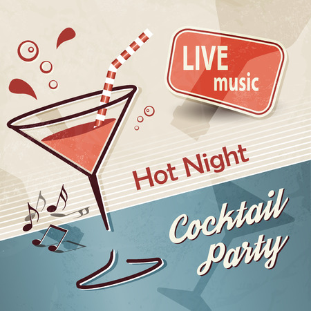 retro party: Party background with cocktail in 50s 60s 70s retro style