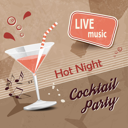 retro party: Retro cocktail party poster with brown background Illustration