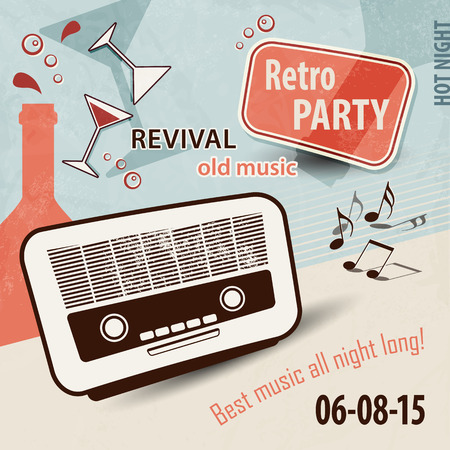 retro glasses: Retro music background - party flyer with old radio, bottles, glasses and music notes