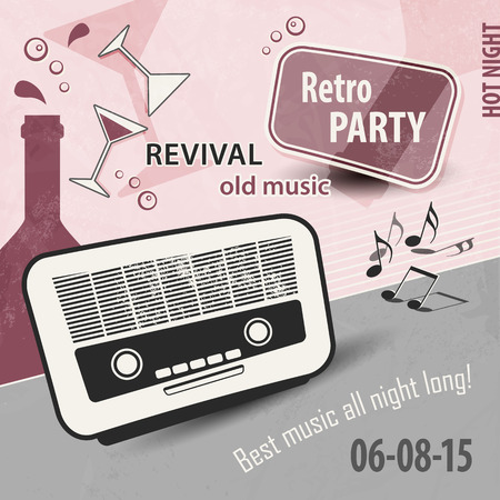 old poster: Retro party layout - music poster design with old radio