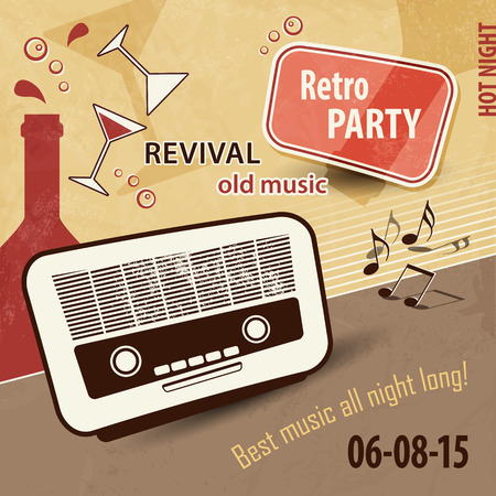 retro party: Music background in retro style - vintage party flyer with old radio and drinks