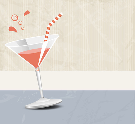 cocktail bar: Cocktail party background banner in soft retro colors - bar menu