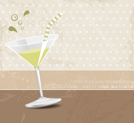 retro style: Green cocktail against brown background in retro style Illustration