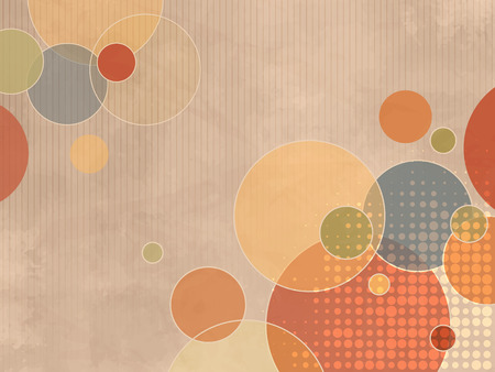 fifties: Circle background with colorful dots in soft retro style Illustration