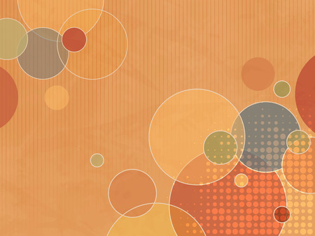 soft colors: Abstract orange background with colorful circles and dots in soft retro colors Illustration