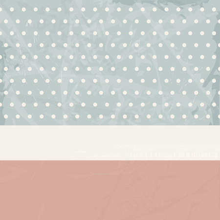 soft colors: Retro background with polka dots and banner in soft colors - vintage invitation card design 50s style