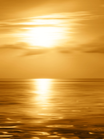 horizon over water: Golden sunset over the sea in soft blurred style Stock Photo
