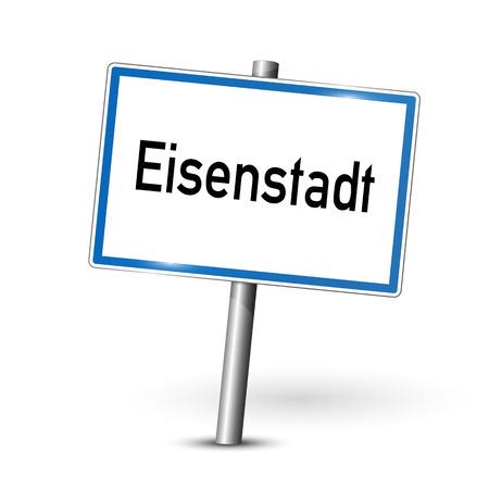 ortseingangsschild: Stadt Zeichen - Eisenstadt - �sterreich