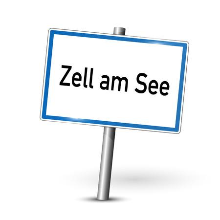ortseingangsschild: Stadt sign - Zell am See - Österreich