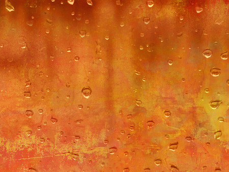 background orange: Raindrops against orange background - abstract autumn concept Stock Photo