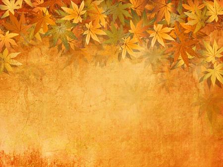 가을 노란 오렌지 단풍 잎 배경 - 빈티지 스타일을
