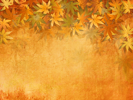 leaves frame: Fall leaves background in yellow orange autumn colors - vintage style Stock Photo