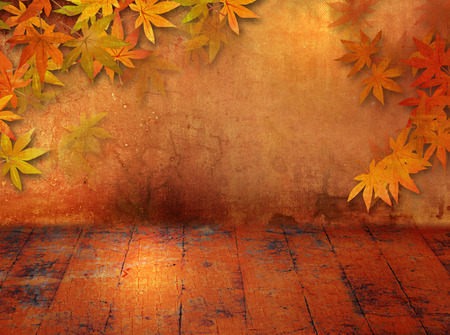 floorboard: Autumn background in grunge style with fall leaves Stock Photo
