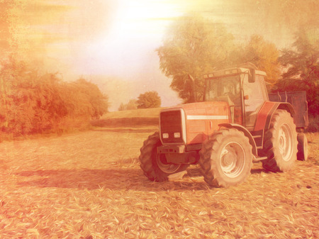 late autumn: Rural landscape with tractor in retro style - photo with oil paint filter