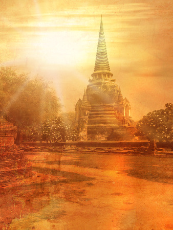 budha: Old temple in Thailand in Ayutthaya - image in vintage style