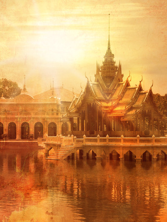 budda: Temple in Thailand in Ayutthaya - Bang Pa-in palace - vintage style Stock Photo