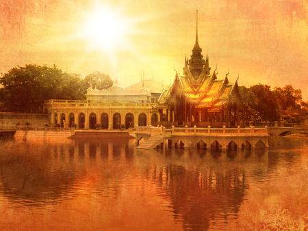 Thai temple in Ayutthaya in old vintage style - Bang Pa-in palace Stock Photo