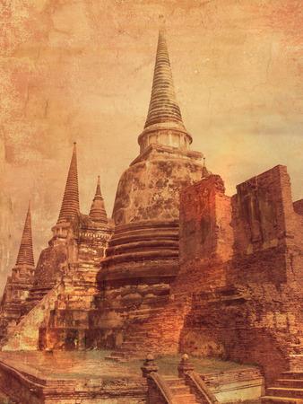 ビンテージ スタイル タイ - 古い仏塔 - 画像内のアユタヤ 写真素材