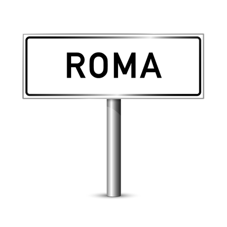 ortseingangsschild: Rom Italien - Stadt road sign - Signage-Board Illustration