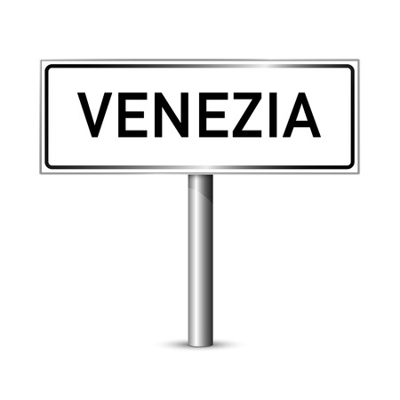 ortseingangsschild: Venedig Italien - Stadt road sign - Signage-Board Illustration